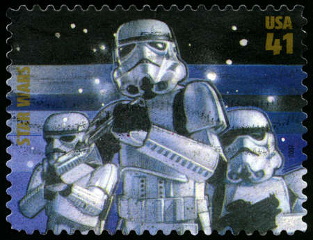 stormtrooper: UNITED STATES - CIRCA 2007: US Postage stamp depicting an illustration of the stormtroopers from Star Wars, circa 2007.