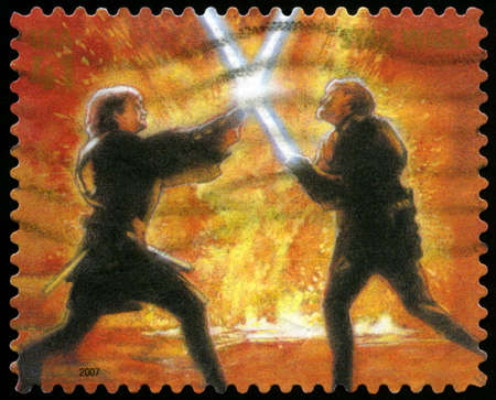 postage stamp: UNITED STATES - CIRCA 2007: US Postage stamp depicting the Star Wars characters Obi Wan Kenobi and Anakin Skywalker, circa 2007. Editorial