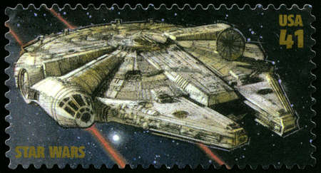 postage: UNITED STATES - CIRCA 2007: US Postage stamp depicting the Millennium Falcon from Star Wars, circa 2007.