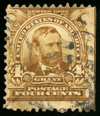 president???s: STATI UNITI, CIRCA 1902: Vintage US francobollo che celebra Ulysses S. Grant, il Presidente del XVIII degli Stati Uniti d'America, circa 1902. Editoriali