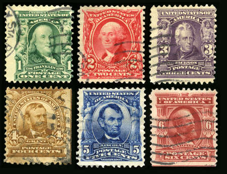 founding: UNITED STATES, CIRCA 1902: Vintage US Postage Stamps each celebrating either a founding father, senator or US President (Franklin, Washington, Jackson, Grant, Lincoln and Garfield), circa 1902.