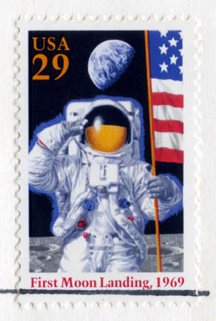 UNITED STATES, CIRCA 1994: A US Postal Stamp celebrating the 25th Anniversary of the First Moon Landing, circa 1994.