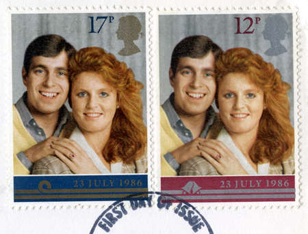 UNITED KINGDOM - CIRCA 1986: Vintage post-marked British stamps featuring the image of Prince Charles and Lady Diana Spencer to commemorate their Royal Wedding, circa 1986. Stock Photo - 25392174
