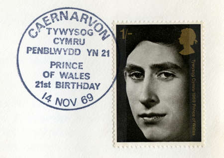 UNITED KINGDOM - CIRCA 1969: Used vintage Postal Stamp celebrating the 21st Birthday of the Prince of Wales, circa 1969. Stock Photo - 25392175
