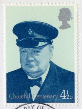 world war ii: UNITED KINGDOM - CIRCA 1974: A vintage British postage stamp commemorating the Centenary of the birth of Sir Winston Churchill, circa 1974.