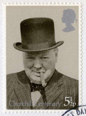 UNITED KINGDOM - CIRCA 1974: A vintage British postage stamp commemorating the Centenary of the birth of Sir Winston Churchill, circa 1974.