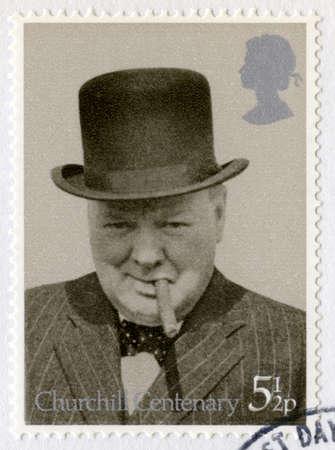 churchill: UNITED KINGDOM - CIRCA 1974: A vintage British postage stamp commemorating the Centenary of the birth of Sir Winston Churchill, circa 1974.