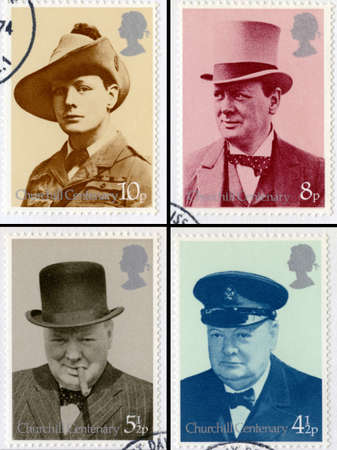 UNITED KINGDOM - CIRCA 1974: Vintage British postage stamps commemorating the Centenary of the birth of Sir Winston Churchill, circa 1974.
