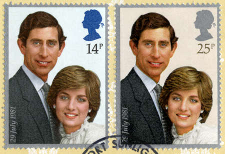 lady diana: UNITED KINGDOM - CIRCA 1981: Vintage post-marked British stamps featuring the image of Prince Charles and Lady Diana Spencer to commemorate their Royal Wedding, circa 1981.