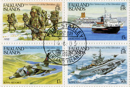 falklands war: FALKLAND ISLANDS - CIRCA 1983 - Postage Stamps commemorating the first anniversary of the Liberation of the Falkland Islands, circa 1983.