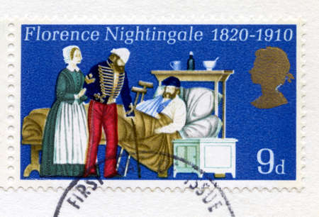 UNITED KINGDOM - CIRCA 1970: A used British postage stamp commemorating the 150th Anniversary of the birth of the mother of modern nursing, Florence Nightingale, circa 1970.