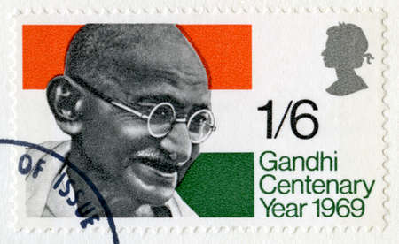 centenary: GREAT BRITAIN - CIRCA 1969: A vintage British stamp featuring an image of Mahatma Gandhi to commemorate the centenary of his birth, circa 1969