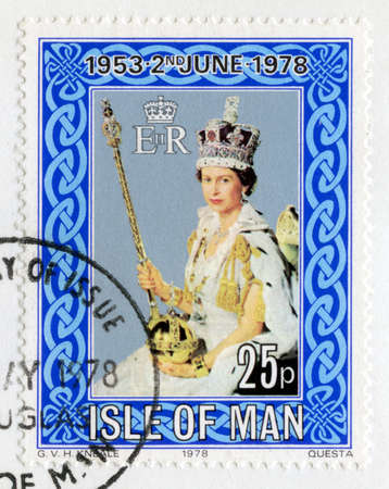 ISLE OF MAN - CIRCA 1978: A used British postage stamp celebrating the 25th Anniversary of the Coronation of Queen Elizabeth II, circa 1978. Editorial