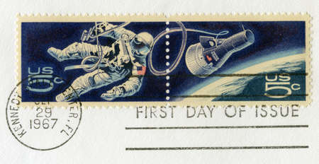 UNITED STATES, CIRCA 1967: US Postal Stamps celebrating Space Exploration, circa 1967. photo