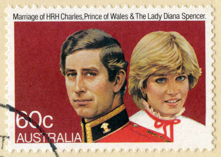 lady diana: AUSTRALIA - CIRCA 1981: A vintage Australian postage stamp celebrating the marriage of Prince Charles and Lady Diana Spencer, circa 1981.