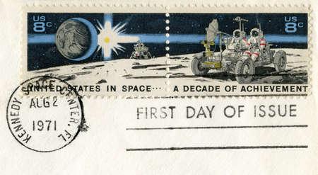 UNITED STATES, CIRCA 1971: US Postal Stamps celebrating a decade of US Space Achievement, circa 1971. photo