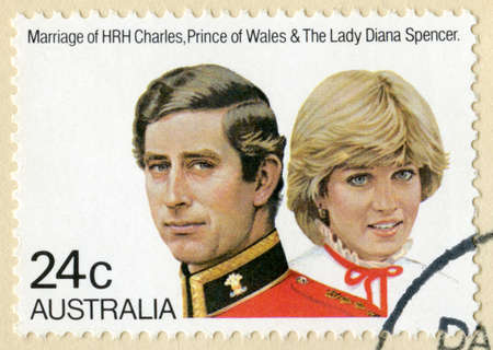 AUSTRALIA - CIRCA 1981: A vintage Australian postage stamp celebrating the marriage of Prince Charles and Lady Diana Spencer, circa 1981. Stock Photo - 25387086