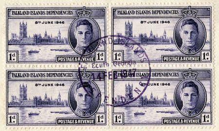 falklands war: FALKLAND ISLANDS - CIRCA 1946: A vintage Falkland Islands stamp, circa 1946. Editorial