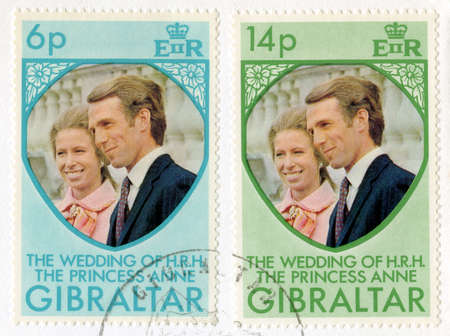 GIBRALTAR - CIRCA 1973: A vintage postage stamp from Gibraltar celebrating the Royal Wedding of Princess Anne & Captain Mark Phillips, circa 1973. Stock Photo - 25387147