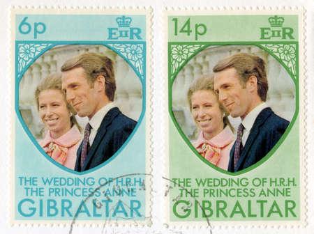 GIBRALTAR - CIRCA 1973: A vintage postage stamp from Gibraltar celebrating the Royal Wedding of Princess Anne & Captain Mark Phillips, circa 1973. Stock Photo - 25387147