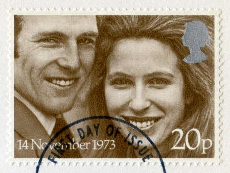 UNITED KINGDOM - CIRCA 1973: A vintage British postage stamp celebrating the Royal Wedding of Princess Anne & Captain Mark Phillips, circa 1973. Stock Photo - 25387148