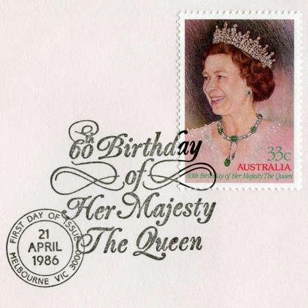 queen elizabeth ii: AUSTRALIA - CIRCA 1986: An Australian Postage Stamp and Postmark celebrating the 60th Birthday of Her Majesty Queen Elizabeth II, circa 1986.