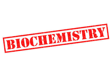 biophysics: BIOCHEMISTRY red Rubber Stamps over a white background. Stock Photo