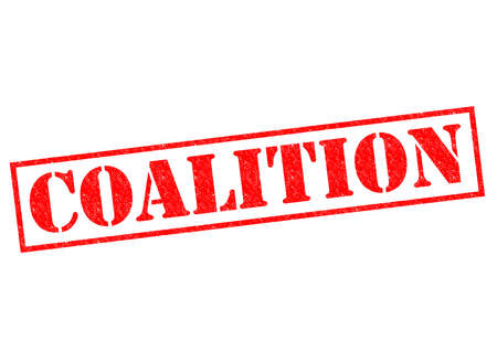 coalition: COALITION red Rubber Stamp over a white background.
