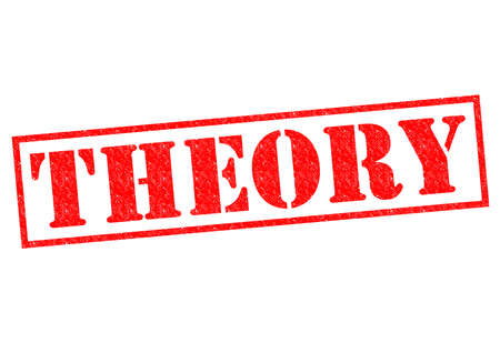 THEORY red Rubber Stamp over a white background. Stock Photo
