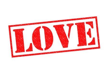 LOVE red Rubber Stamp over a white background. photo