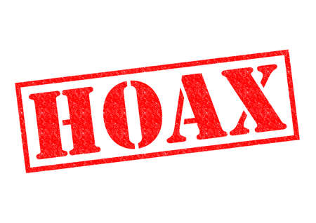 faked: HOAX red Rubber Stamp over a white background.