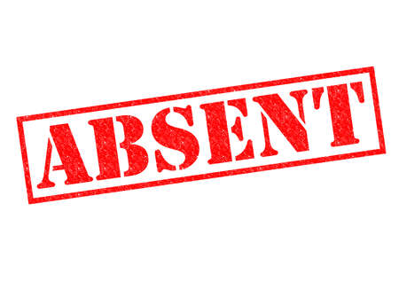 absent: ABSENT red Rubber Stamp over a white background. Stock Photo