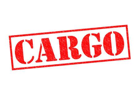 shipload: Goma roja CARGO sello sobre un fondo blanco. Foto de archivo