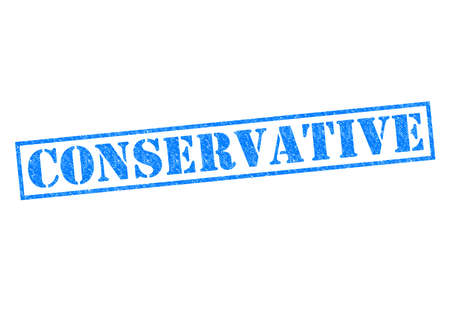 rightwing: CONSERVATIVE blue Rubber Stamp over a white background. Stock Photo