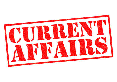 CURRENT AFFAIRS red Rubber Stamp over a white background. photo
