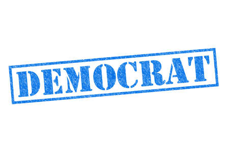 DEMOCRAT blue Rubber Stamp over a white background. Stock Photo
