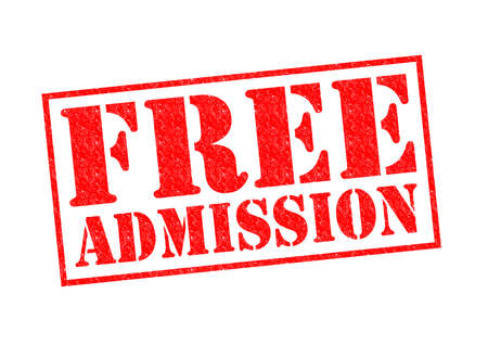 free sign: FREE ADMISSION red Rubber Stamp over a white background.