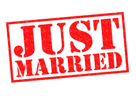 JUST MARRIED red Rubber Stamp over a white background. photo