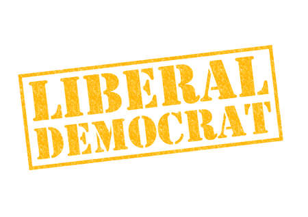 LIBERAL DEMOCRAT yellow Rubber Stamp over a white background. photo