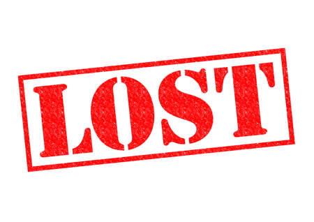 vanished: LOST red Rubber Stamp over a white background. Stock Photo