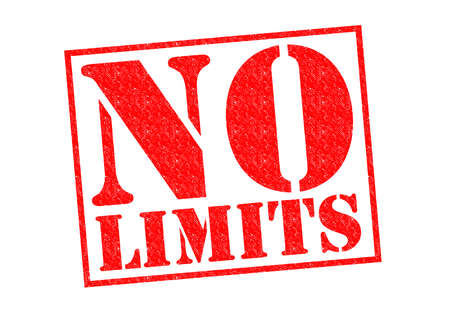 authorisation: NO LIMITS red Rubber Stamp over a white background. Stock Photo