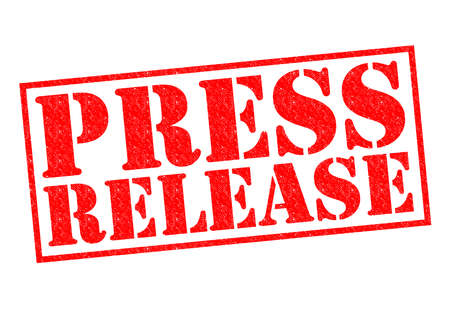 PRESS RELEASE red Rubber Stamp over a white background.