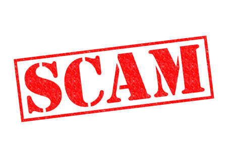 scam: SCAM red Rubber Stamp over a white background.