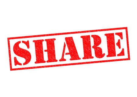 shared sharing: SHARE red Rubber Stamp over a white background. Stock Photo