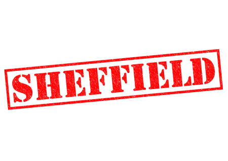 sheffield: SHEFFIELD red Rubber Stamp over a white background.