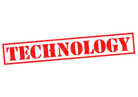 TECHNOLOGY red Rubber Stamp over a white background. photo