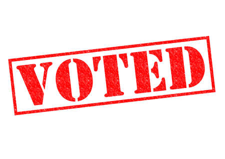 voted: VOTED red Rubber Stamp over a white background.