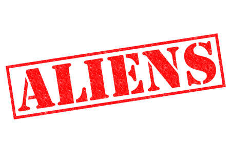 ufo conspiracy theory: ALIENS red Rubber Stamp over a white background.