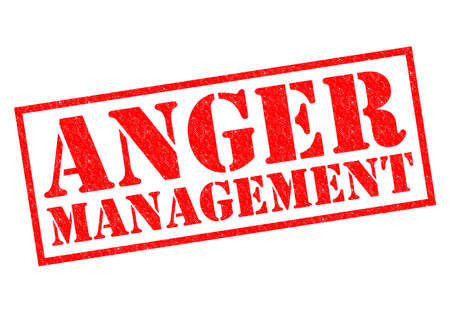 anger management: ANGER MANAGEMENT red Rubber Stamp over a white background.