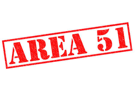 ufo conspiracy theory: AREA 51 red Rubber Stamp over a white background. Stock Photo